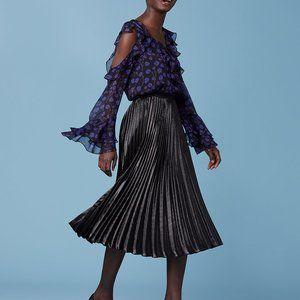 Diane Von Furstenberg Laverna Metallic Pleat Skirt